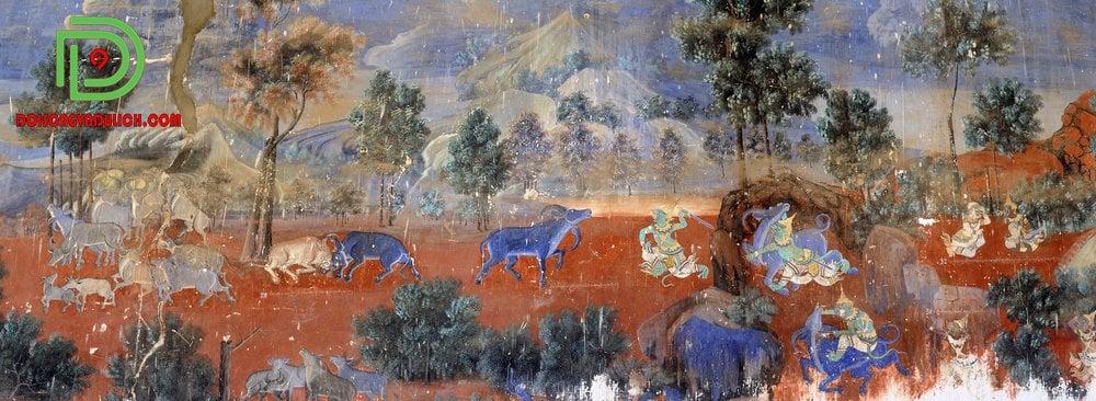 Hình vẽ trên tường cung điện Hoàng gia Campuchia