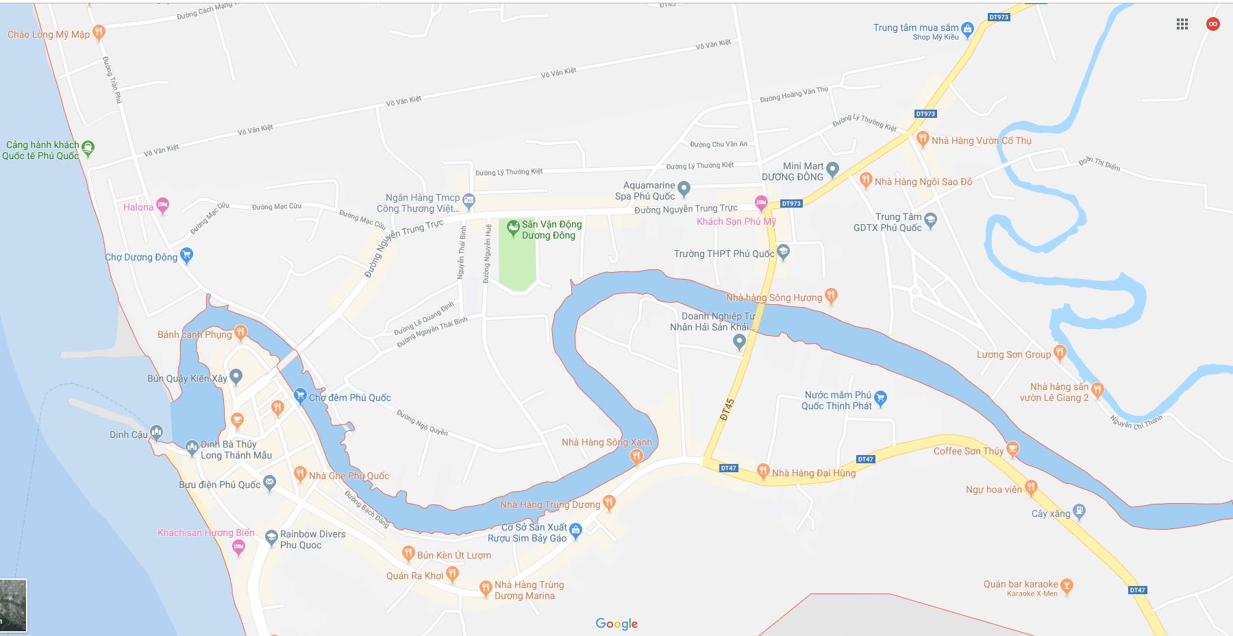 Bản đồ thị trấn dương đông phú quốc