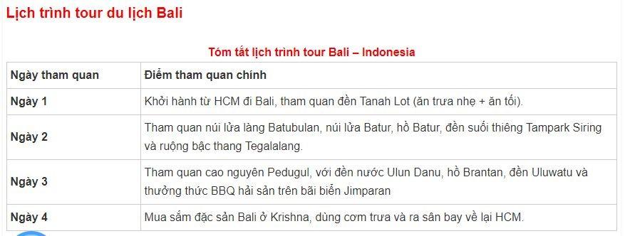 lịch trình tour bali